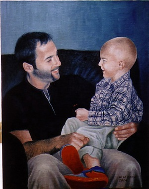 Commissioned painting of Cameron and his Dad.