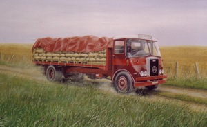 Oil painting of old truck