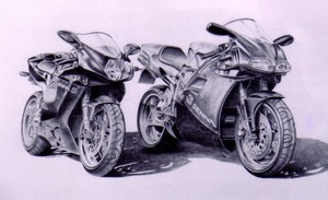 Commissioned drawing of motor cycles