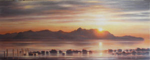 commissioned Oil Painting of the sunset over the Island of Arran