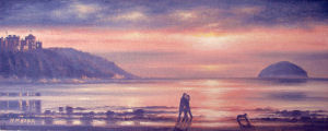Oil painting of sunset over Culzean Bay