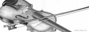 commissioned drawing of a violin and bow on graphite