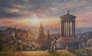 Original Oil Painting - Edinburgh Sunset 8 x 13 ins. Oil