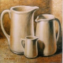 oil painting of jugs